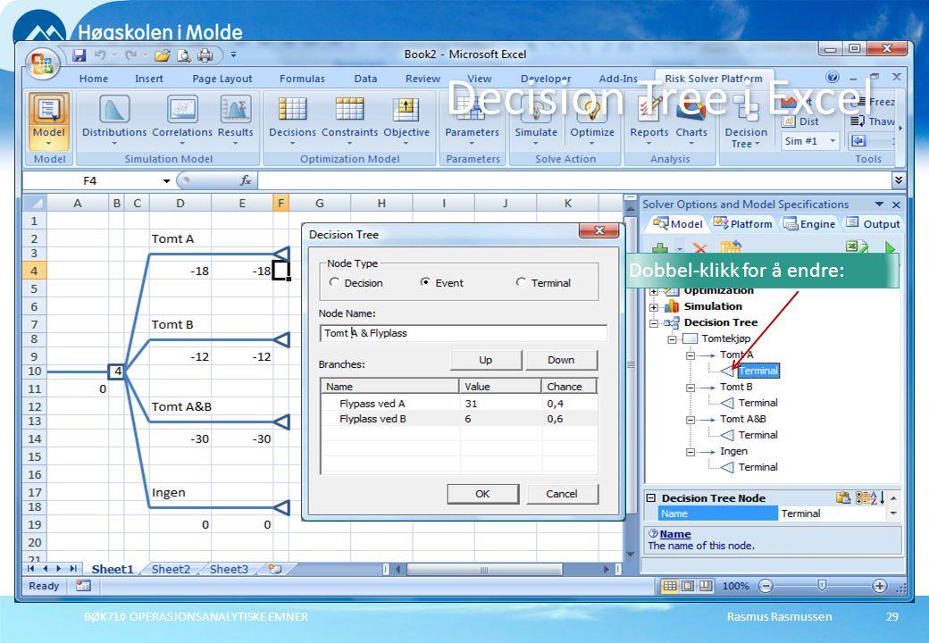 Rasmus RasmussenBØK710 OPERASJONSANALYTISKE EMNER29 Decision Tree i Excel Dobbel-klikk for å endre:
