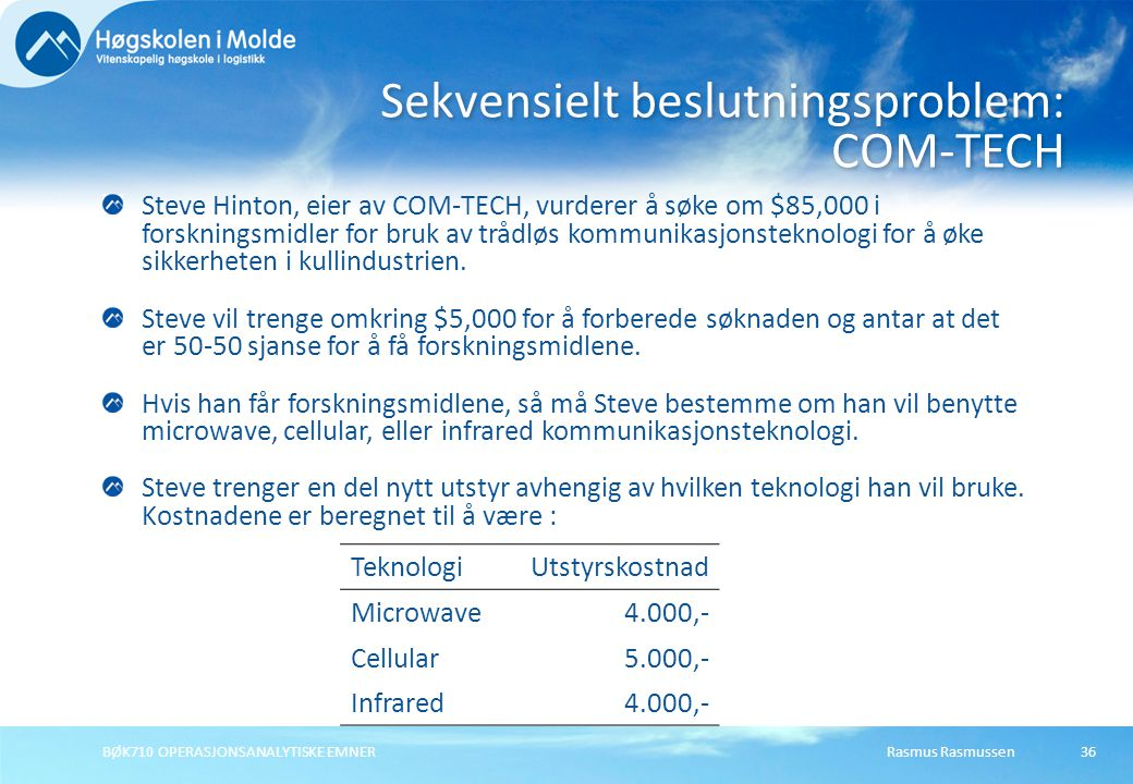 Rasmus RasmussenBØK710 OPERASJONSANALYTISKE EMNER36 Steve Hinton, eier av COM-TECH, vurderer å søke om $85,000 i forskningsmidler for bruk av trådløs kommunikasjonsteknologi for å øke sikkerheten i kullindustrien.