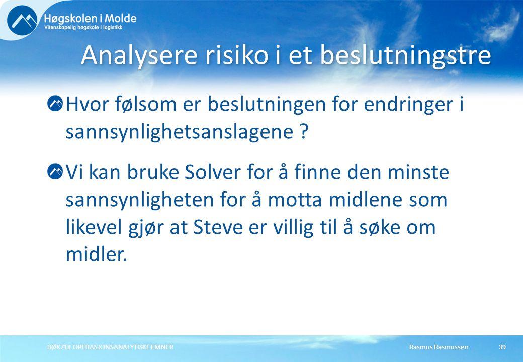 Rasmus RasmussenBØK710 OPERASJONSANALYTISKE EMNER39 Hvor følsom er beslutningen for endringer i sannsynlighetsanslagene ? Vi kan bruke Solver for å fi
