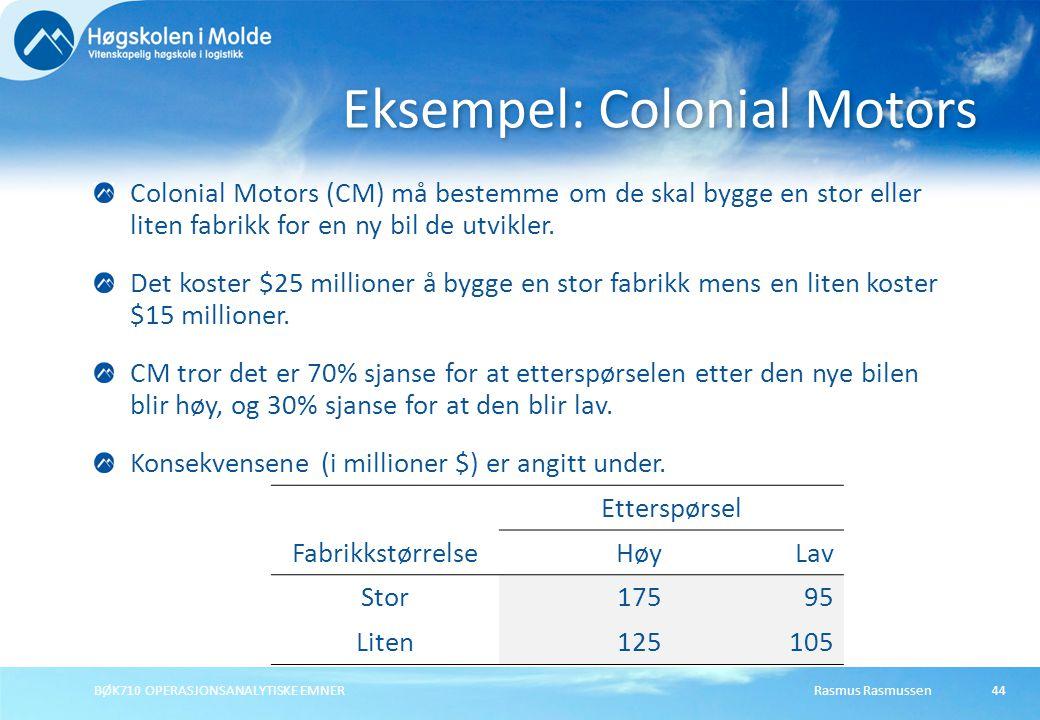 Rasmus RasmussenBØK710 OPERASJONSANALYTISKE EMNER44 Colonial Motors (CM) må bestemme om de skal bygge en stor eller liten fabrikk for en ny bil de utvikler.