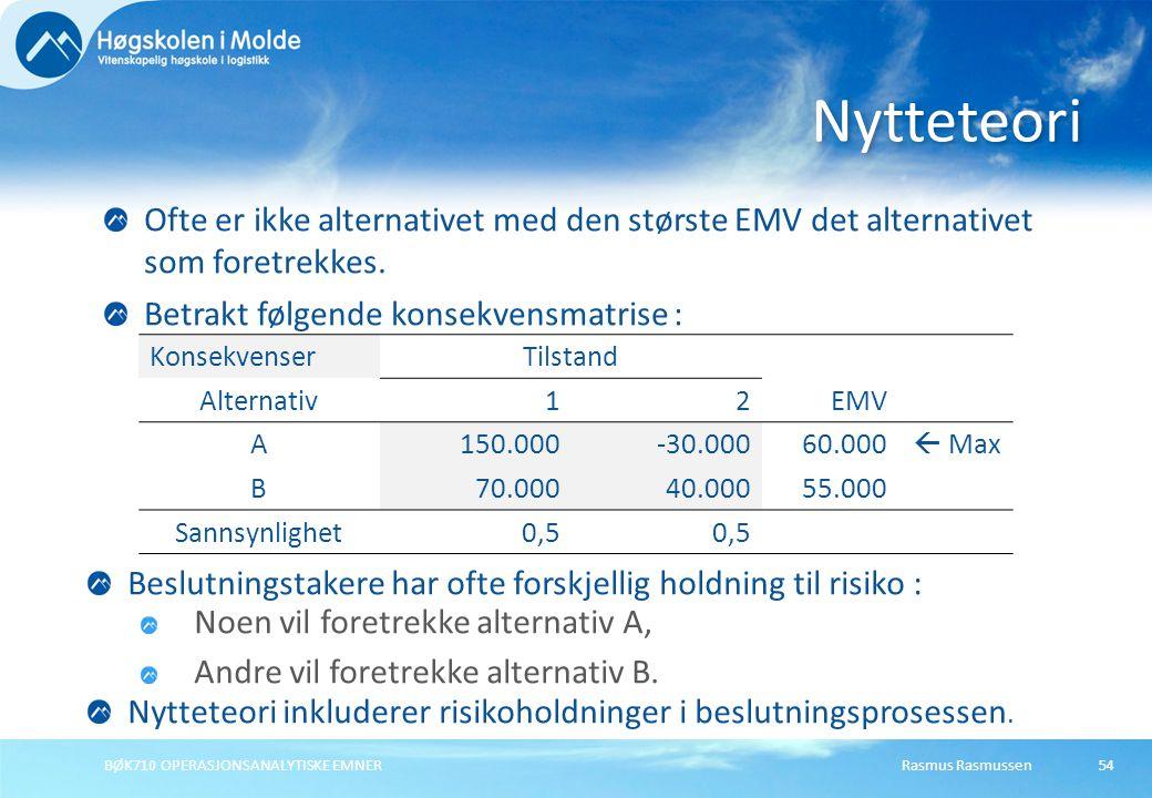 Rasmus RasmussenBØK710 OPERASJONSANALYTISKE EMNER54 Ofte er ikke alternativet med den største EMV det alternativet som foretrekkes. Betrakt følgende k