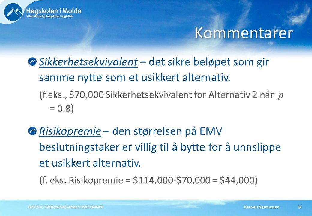 Rasmus RasmussenBØK710 OPERASJONSANALYTISKE EMNER58 Sikkerhetsekvivalent – det sikre beløpet som gir samme nytte som et usikkert alternativ. (f.eks.,