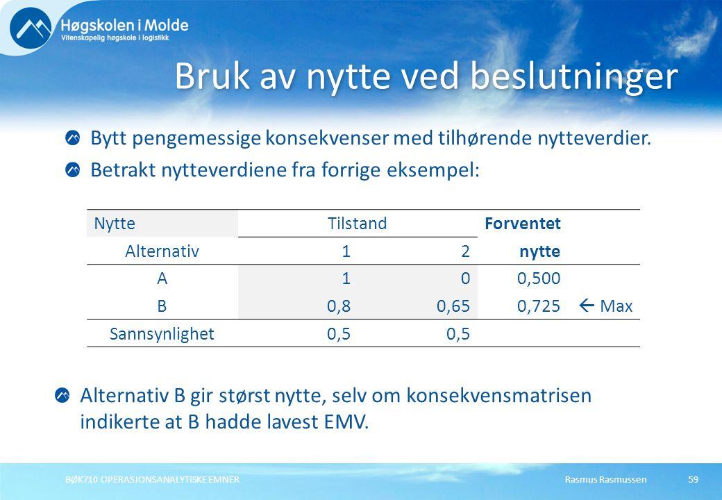 Rasmus RasmussenBØK710 OPERASJONSANALYTISKE EMNER59 Bruk av nytte ved beslutninger Bytt pengemessige konsekvenser med tilhørende nytteverdier. Betrakt