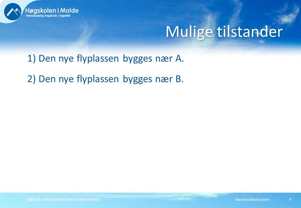 Rasmus RasmussenBØK710 OPERASJONSANALYTISKE EMNER9 1) Den nye flyplassen bygges nær A. 2) Den nye flyplassen bygges nær B. Mulige tilstander