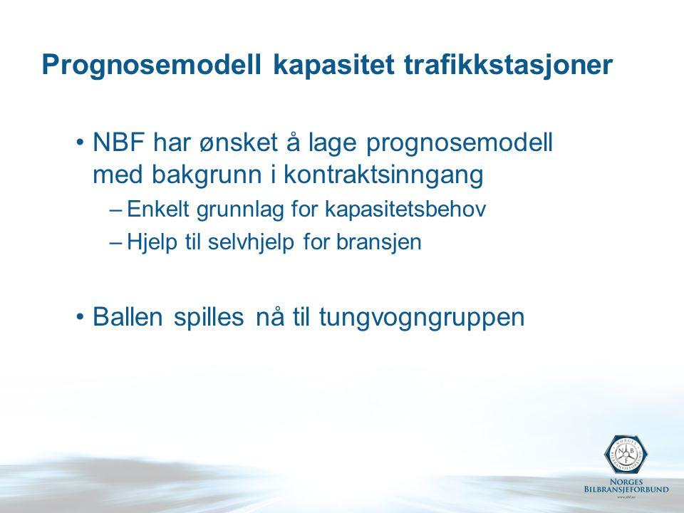 Prognosemodell kapasitet trafikkstasjoner NBF har ønsket å lage prognosemodell med bakgrunn i kontraktsinngang –Enkelt grunnlag for kapasitetsbehov –Hjelp til selvhjelp for bransjen Ballen spilles nå til tungvogngruppen