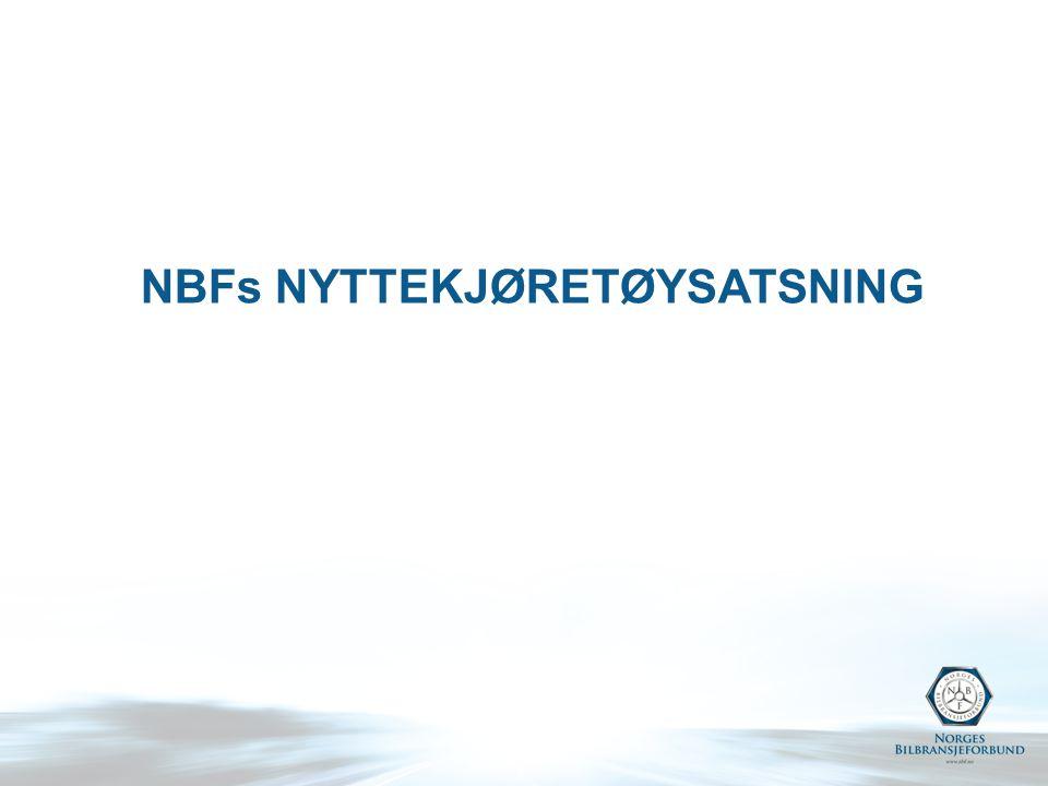 Samarbeidsområder NLF Revitalisere forretningsvilkår for verkstedarbeid Etablere klagenevnd for tunge kjøretøy Etablere retningslinjer for leasingforhold Utdanne lastebilselgere i transportøkonomi - kurs i transportøkonomi for lastebilselgere tilbys NBFs medlemmer Felles holdning og arbeid når det gjelder reduksjon av omregistreringsavgiften Felles holdning til bilavgifter på tunge kjøretøy Bilens rolle i samfunnet NBF stiller seg bak NLFs arbeid mot kabotasje – Fellesforbundet også med