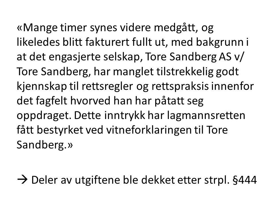 «Mange timer synes videre medgått, og likeledes blitt fakturert fullt ut, med bakgrunn i at det engasjerte selskap, Tore Sandberg AS v/ Tore Sandberg,