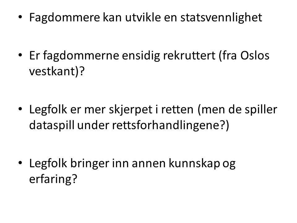 Fagdommere kan utvikle en statsvennlighet Er fagdommerne ensidig rekruttert (fra Oslos vestkant)? Legfolk er mer skjerpet i retten (men de spiller dat