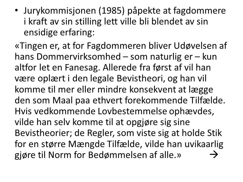 Jurykommisjonen (1985) påpekte at fagdommere i kraft av sin stilling lett ville bli blendet av sin ensidige erfaring: «Tingen er, at for Fagdommeren b