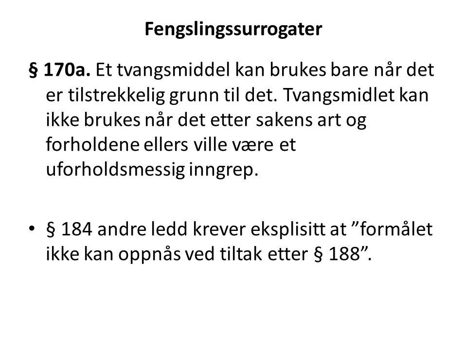 Fengslingssurrogater § 170a. Et tvangsmiddel kan brukes bare når det er tilstrekkelig grunn til det. Tvangsmidlet kan ikke brukes når det etter sakens