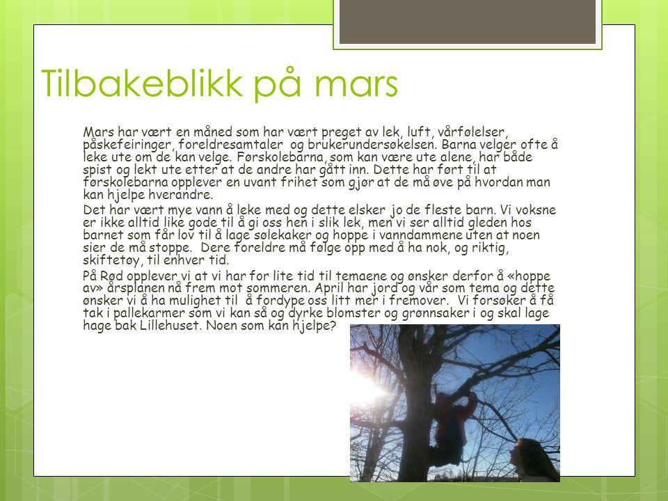 Tilbakeblikk på mars Mars har vært en måned som har vært preget av lek, luft, vårfølelser, påskefeiringer, foreldresamtaler og brukerundersøkelsen. Ba