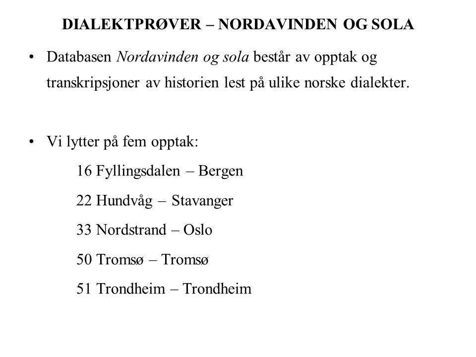 DIALEKTPRØVER – NORDAVINDEN OG SOLA Databasen Nordavinden og sola består av opptak og transkripsjoner av historien lest på ulike norske dialekter.