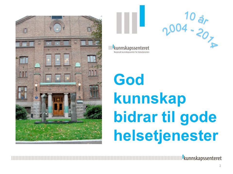 Kunnskapsesenterets nye PPT-mal Kunnskapssenteret Magne Nylenna, direktør, professor dr.med.