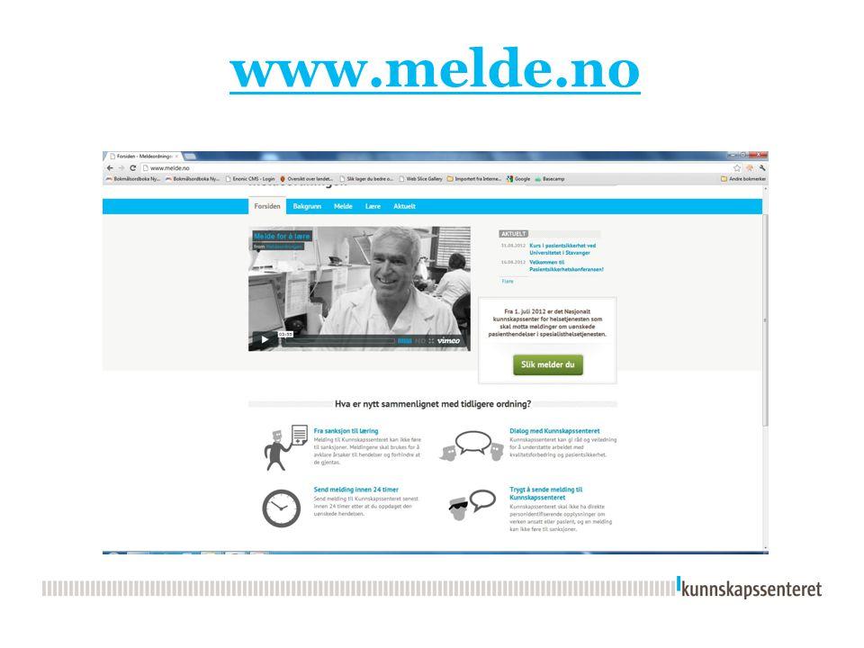 Resultater i sykehus med avvikende resultater for 2012