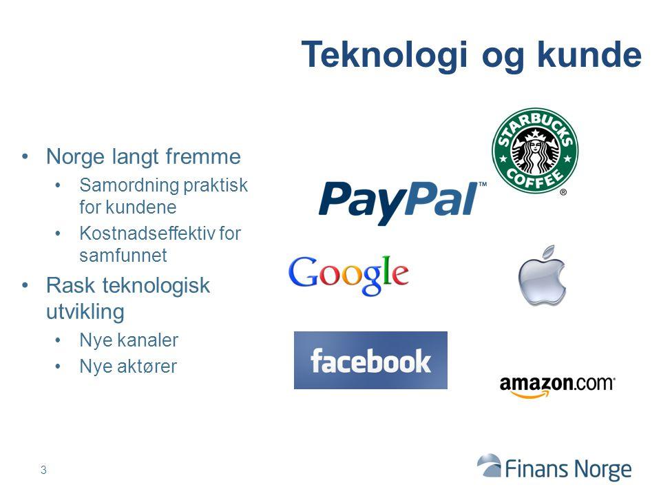 3 Teknologi og kunde Norge langt fremme Samordning praktisk for kundene Kostnadseffektiv for samfunnet Rask teknologisk utvikling Nye kanaler Nye aktører