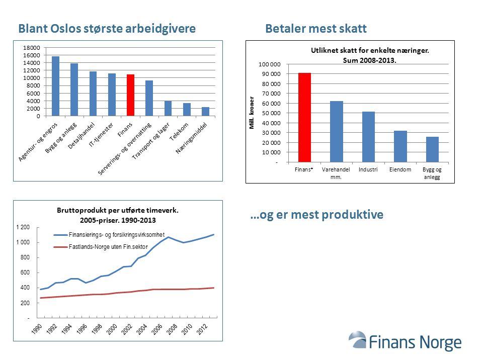 Blant Oslos største arbeidgivereBetaler mest skatt …og er mest produktive