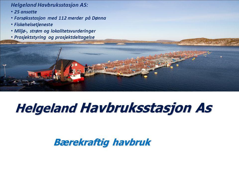 Helgeland Havbruksstasjon As Bærekraftig havbruk Helgeland Havbruksstasjon AS: 25 ansatte Forsøksstasjon med 112 merder på Dønna Fiskehelsetjeneste Mi