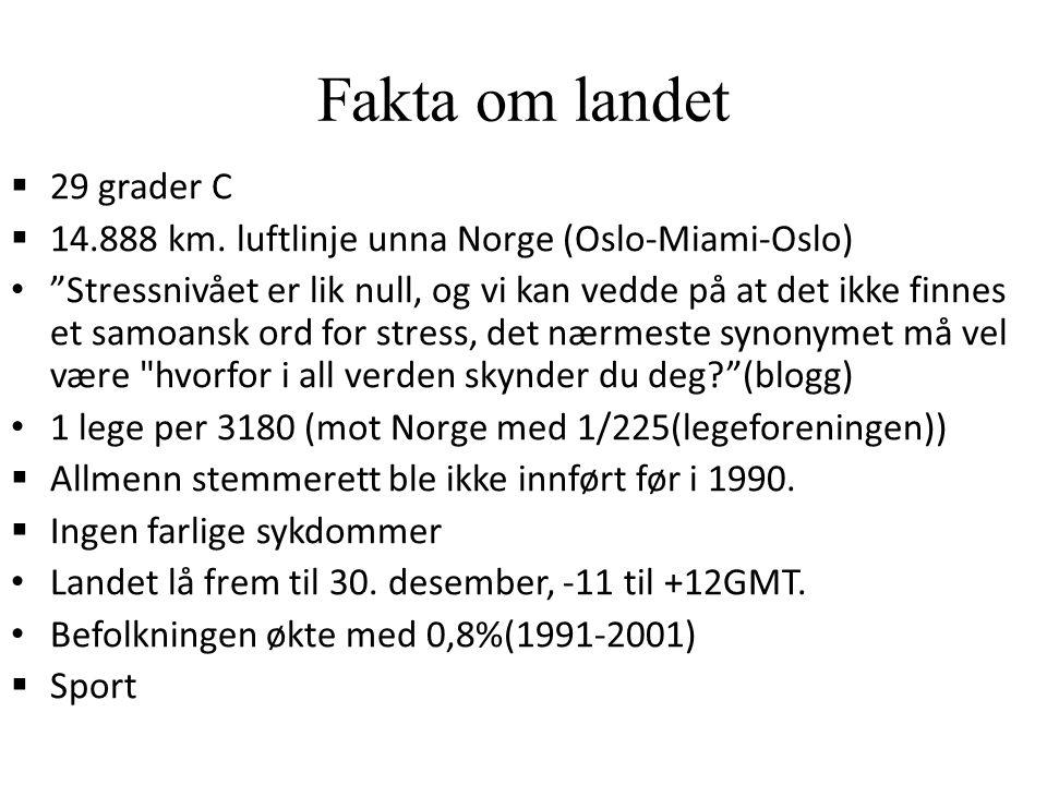 Fakta om landet  29 grader C  14.888 km.