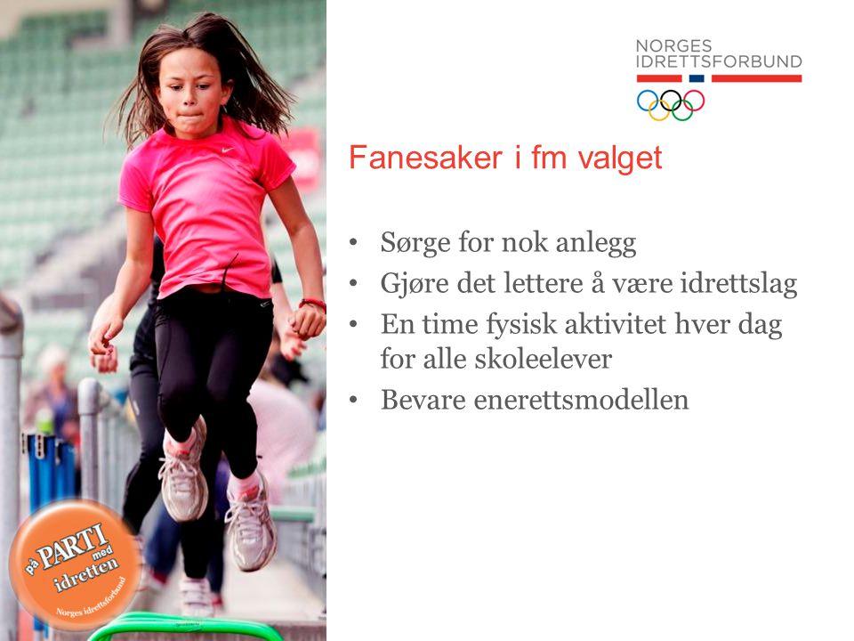 Fanesaker i fm valget Sørge for nok anlegg Gjøre det lettere å være idrettslag En time fysisk aktivitet hver dag for alle skoleelever Bevare enerettsmodellen