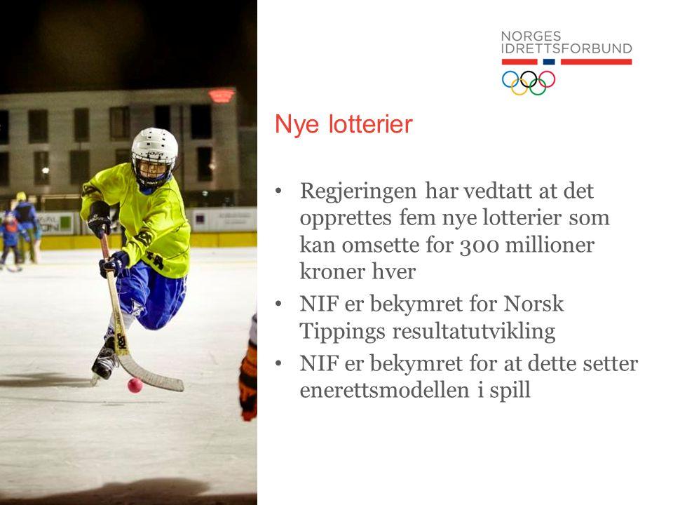 Nye lotterier Regjeringen har vedtatt at det opprettes fem nye lotterier som kan omsette for 300 millioner kroner hver NIF er bekymret for Norsk Tippings resultatutvikling NIF er bekymret for at dette setter enerettsmodellen i spill