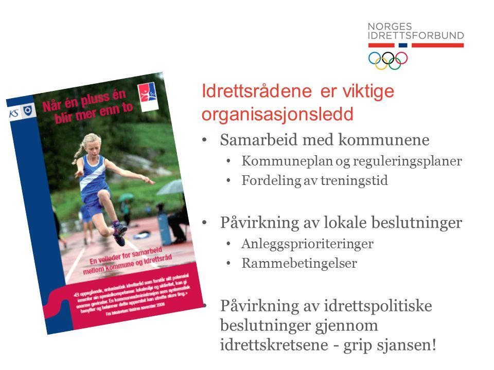 Idrettsrådene er viktige organisasjonsledd Samarbeid med kommunene Kommuneplan og reguleringsplaner Fordeling av treningstid Påvirkning av lokale beslutninger Anleggsprioriteringer Rammebetingelser Påvirkning av idrettspolitiske beslutninger gjennom idrettskretsene - grip sjansen!