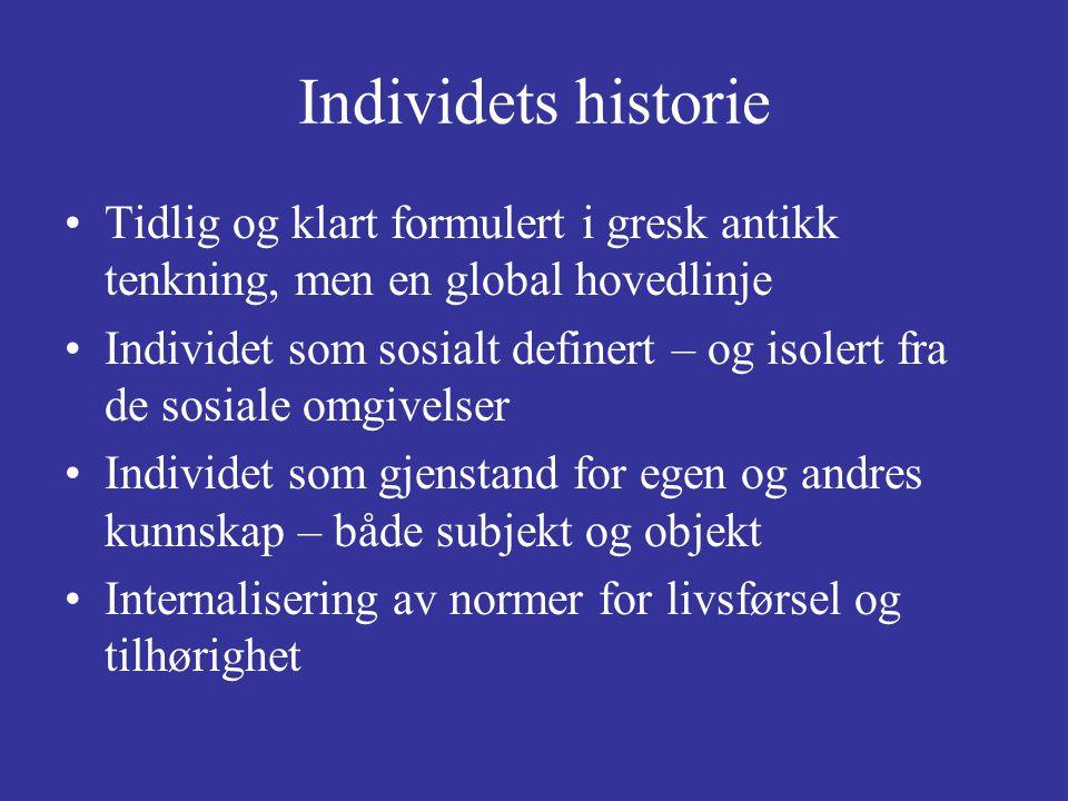 Individets historie Tidlig og klart formulert i gresk antikk tenkning, men en global hovedlinje Individet som sosialt definert – og isolert fra de sos