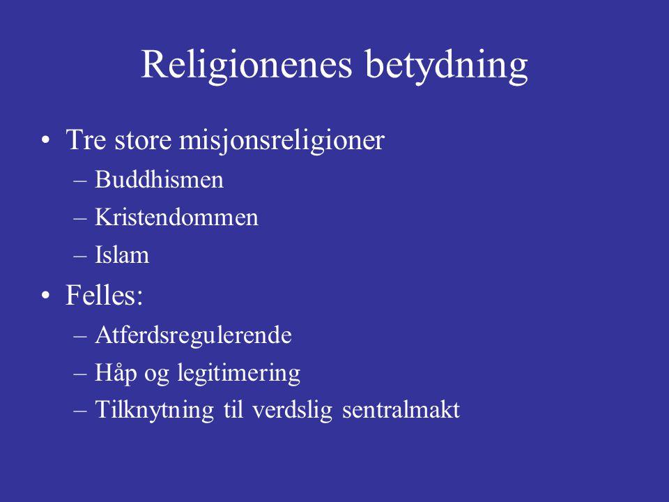 Religionenes betydning Tre store misjonsreligioner –Buddhismen –Kristendommen –Islam Felles: –Atferdsregulerende –Håp og legitimering –Tilknytning til