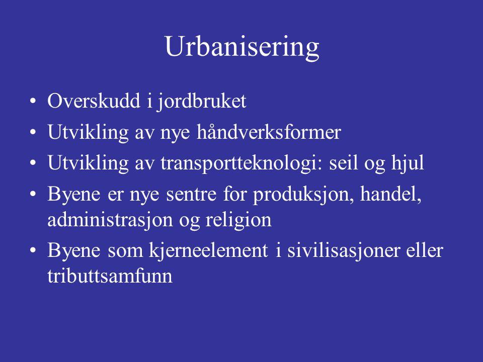 Urbanisering Byene lever av jordbrukets overskudd, men er viktige for –Religion –Rettspleie –Militærvesen og beskyttelse