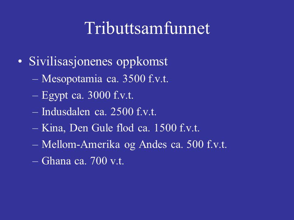 Tributtsamfunnet Sivilisasjonenes oppkomst –Mesopotamia ca. 3500 f.v.t. –Egypt ca. 3000 f.v.t. –Indusdalen ca. 2500 f.v.t. –Kina, Den Gule flod ca. 15