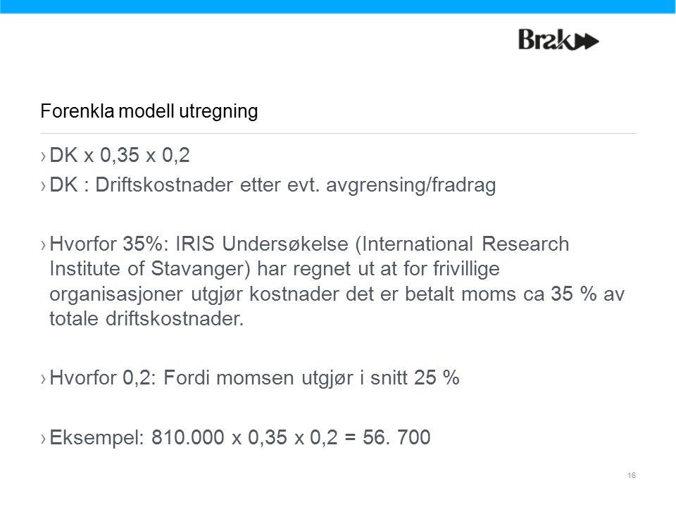 16 ›DK x 0,35 x 0,2 ›DK : Driftskostnader etter evt.