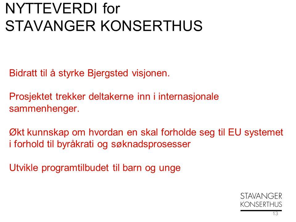 13 NYTTEVERDI for STAVANGER KONSERTHUS Bidratt til å styrke Bjergsted visjonen. Prosjektet trekker deltakerne inn i internasjonale sammenhenger. Økt k