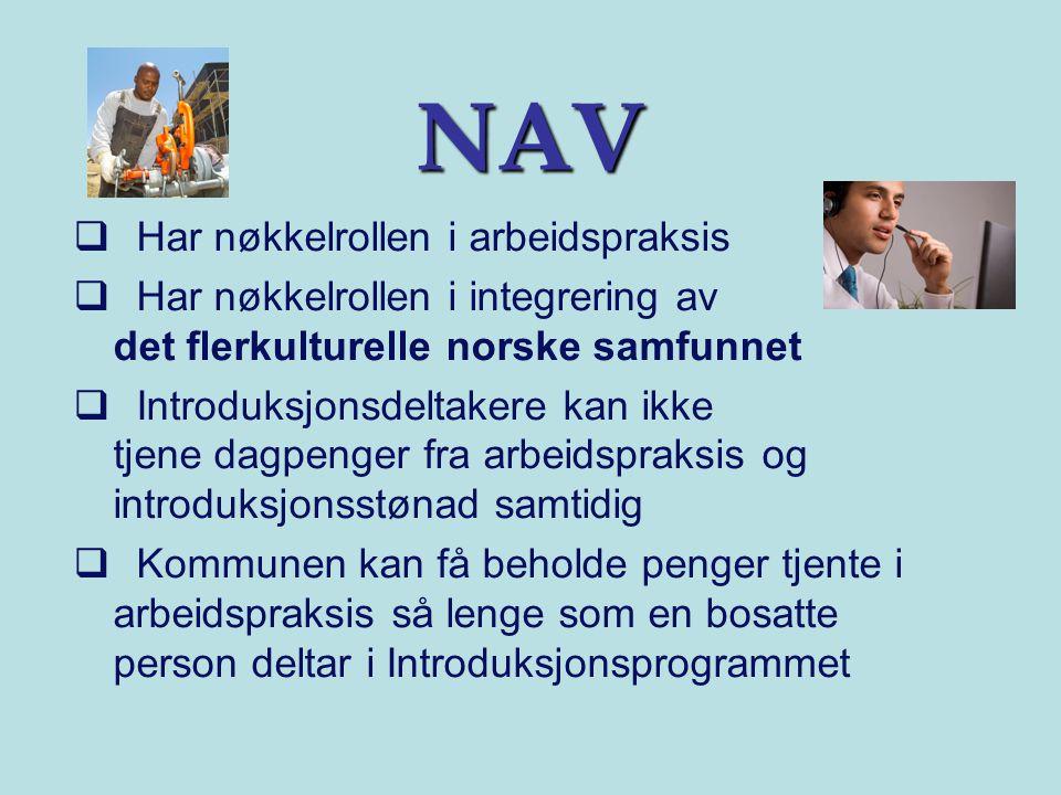 NAV  Har nøkkelrollen i arbeidspraksis  Har nøkkelrollen i integrering av det flerkulturelle norske samfunnet  Introduksjonsdeltakere kan ikke tjene dagpenger fra arbeidspraksis og introduksjonsstønad samtidig  Kommunen kan få beholde penger tjente i arbeidspraksis så lenge som en bosatte person deltar i Introduksjonsprogrammet