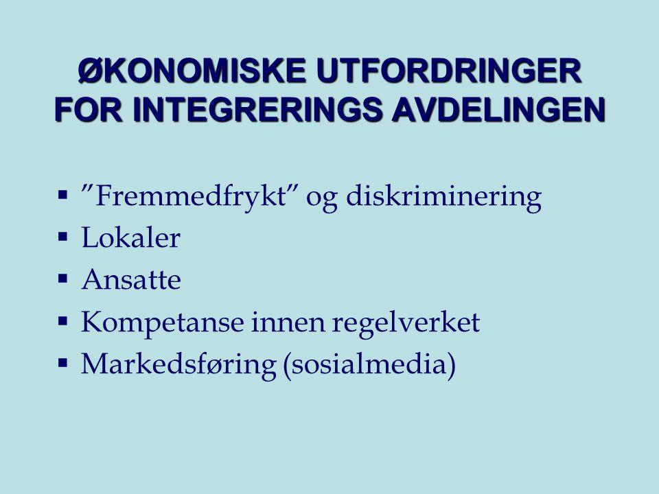 ØKONOMISKE UTFORDRINGER FOR INTEGRERINGS AVDELINGEN  Fremmedfrykt og diskriminering  Lokaler  Ansatte  Kompetanse innen regelverket  Markedsføring (sosialmedia)
