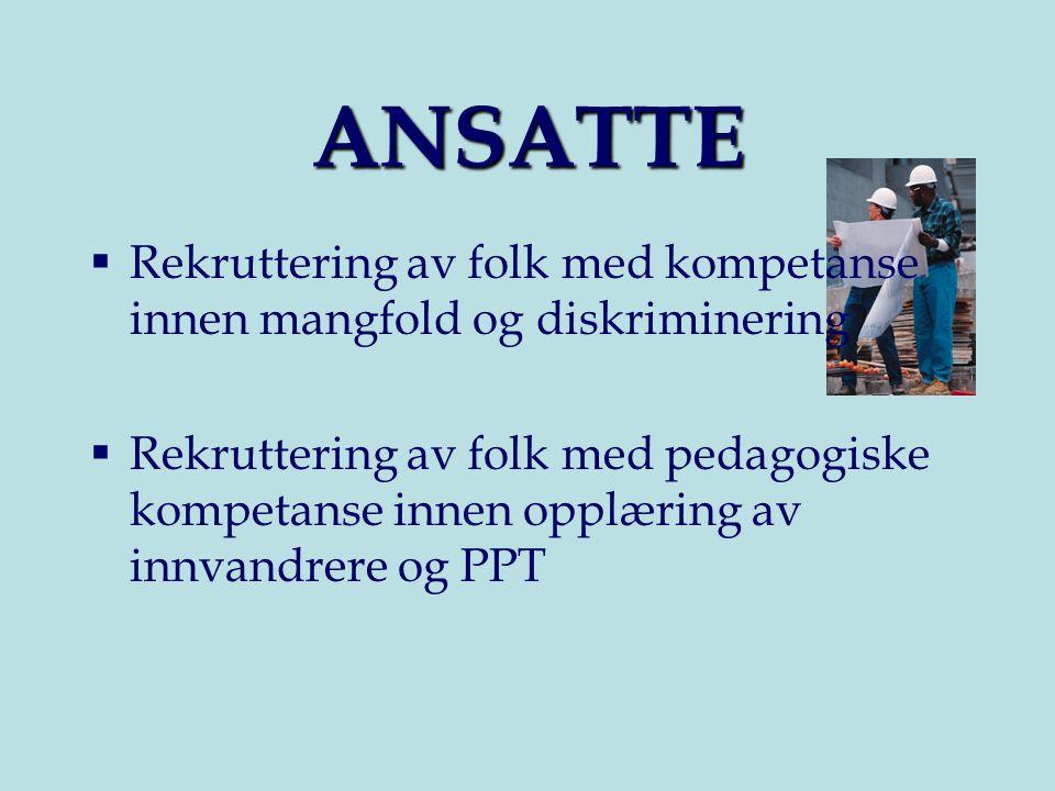 ANSATTE  Rekruttering av folk med kompetanse innen mangfold og diskriminering  Rekruttering av folk med pedagogiske kompetanse innen opplæring av innvandrere og PPT