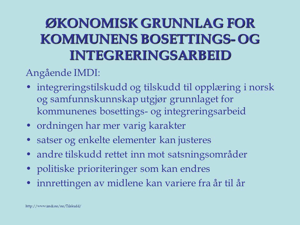 ØKONOMISK GRUNNLAG FOR KOMMUNENS BOSETTINGS- OG INTEGRERINGSARBEID Angående IMDI: integreringstilskudd og tilskudd til opplæring i norsk og samfunnsku
