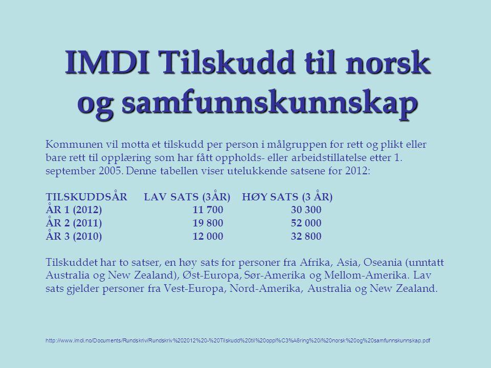 IMDI Tilskudd til norsk og samfunnskunnskap Kommunen vil motta et tilskudd per person i målgruppen for rett og plikt eller bare rett til opplæring som har fått oppholds- eller arbeidstillatelse etter 1.