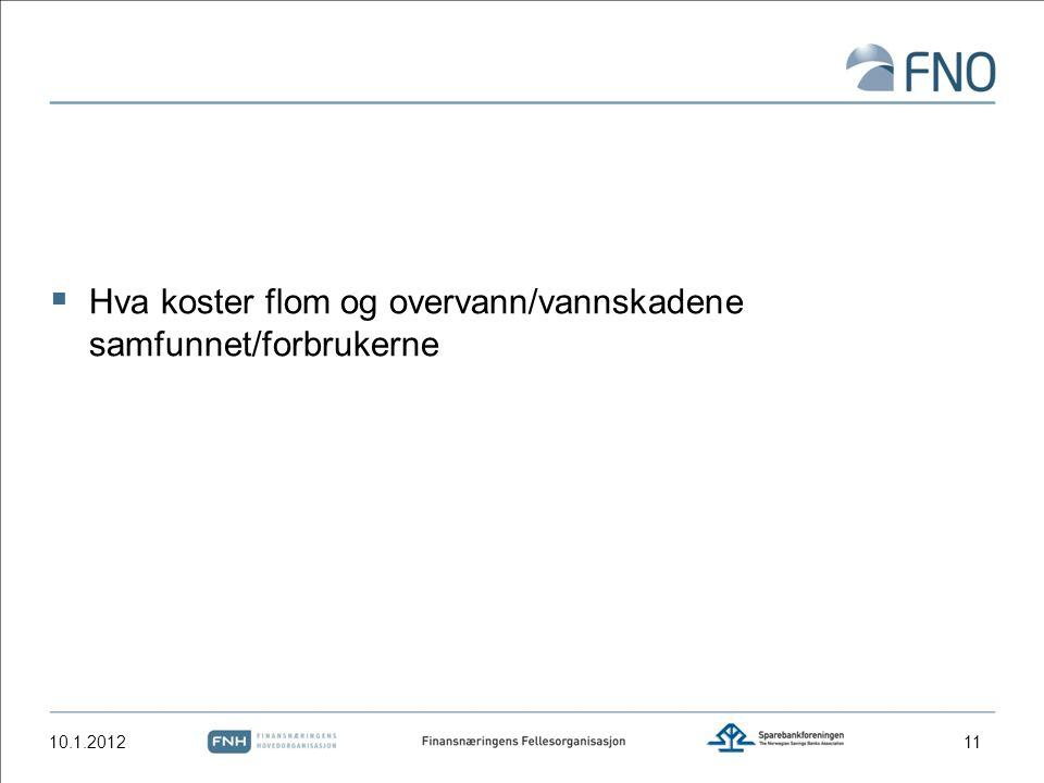  Hva koster flom og overvann/vannskadene samfunnet/forbrukerne 10.1.201211