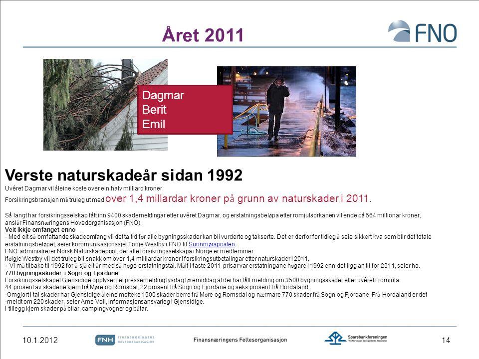 Året 2011 10.1.2012 Verste naturskade å r sidan 1992 Uvêret Dagmar vil å leine koste over ein halv milliard kroner. Forsikringsbransjen m å truleg ut