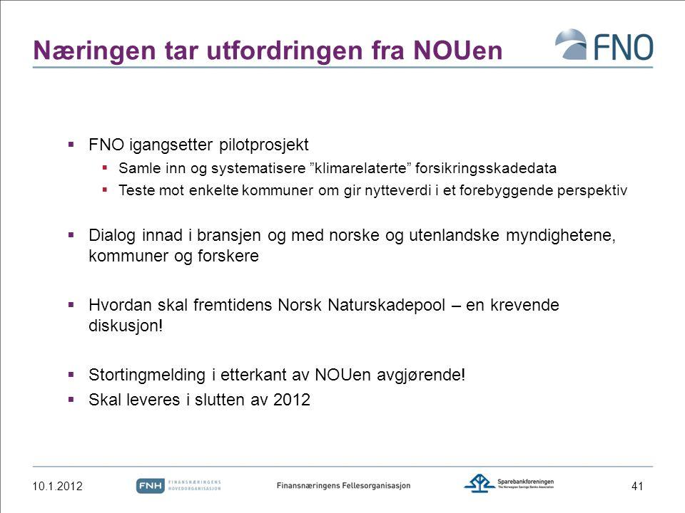 """Næringen tar utfordringen fra NOUen  FNO igangsetter pilotprosjekt  Samle inn og systematisere """"klimarelaterte"""" forsikringsskadedata  Teste mot enk"""