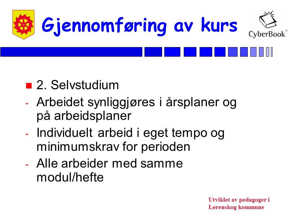 Utviklet av pedagoger i Lørenskog kommune Gjennomføring av kurs n 2. Selvstudium - Arbeidet synliggjøres i årsplaner og på arbeidsplaner - Individuelt
