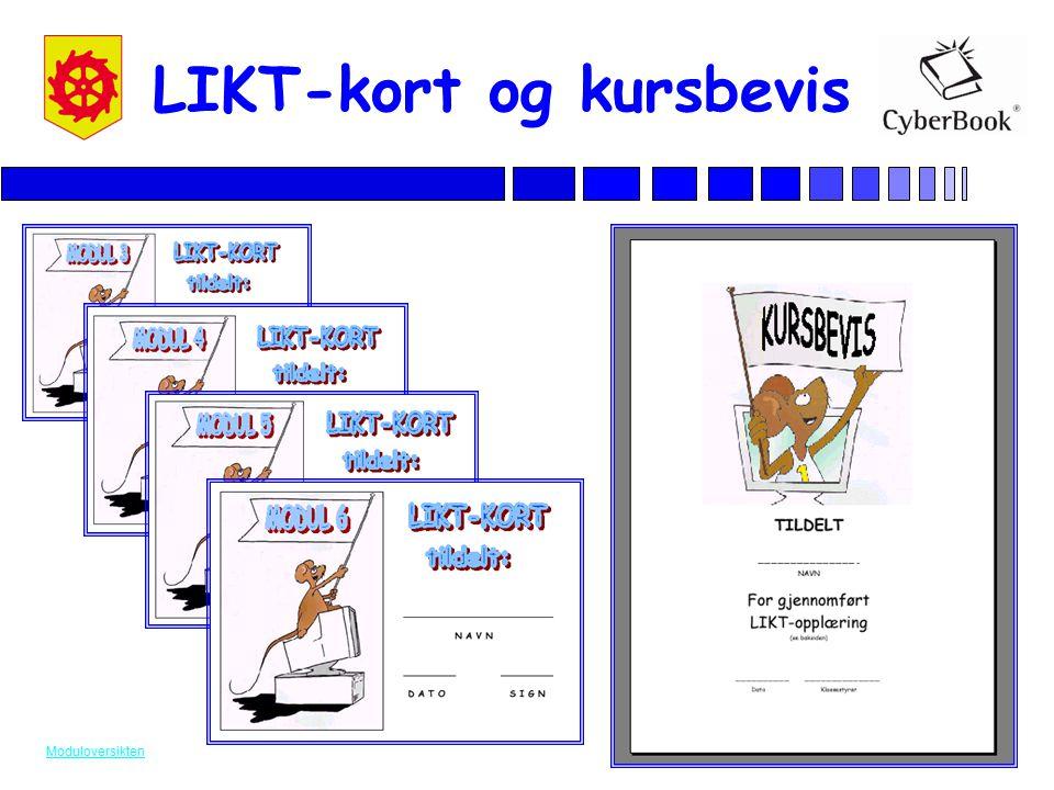 Utviklet av pedagoger i Lørenskog kommune LIKT-kort og kursbevis Moduloversikten