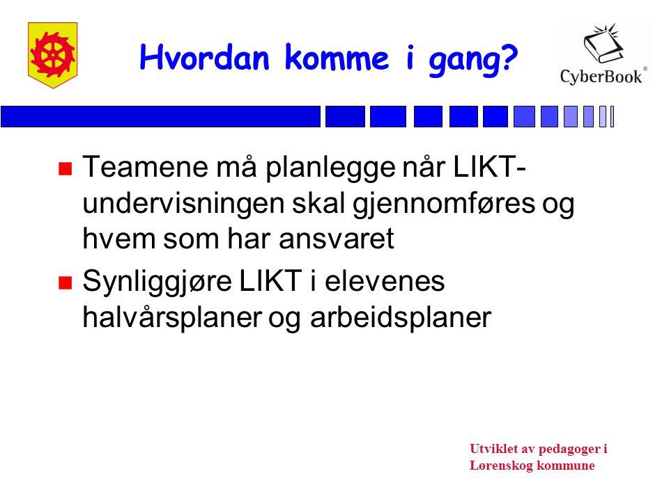 Utviklet av pedagoger i Lørenskog kommune n Teamene må planlegge når LIKT- undervisningen skal gjennomføres og hvem som har ansvaret n Synliggjøre LIK