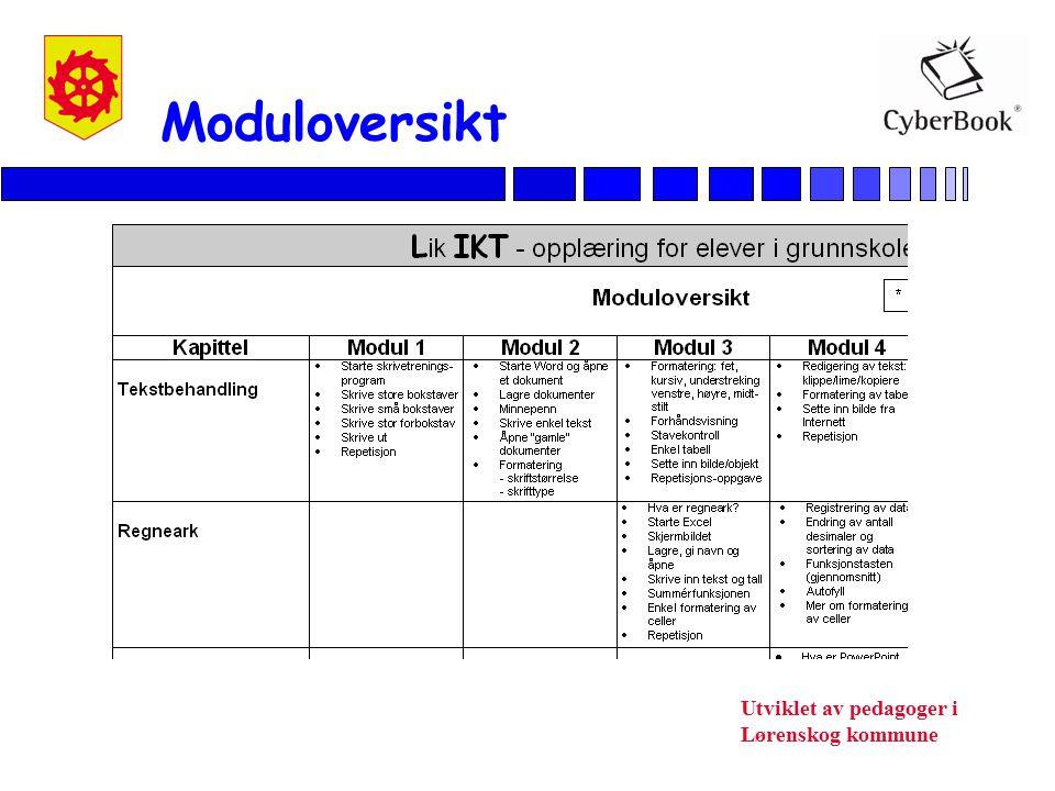Utviklet av pedagoger i Lørenskog kommune Moduloversikt