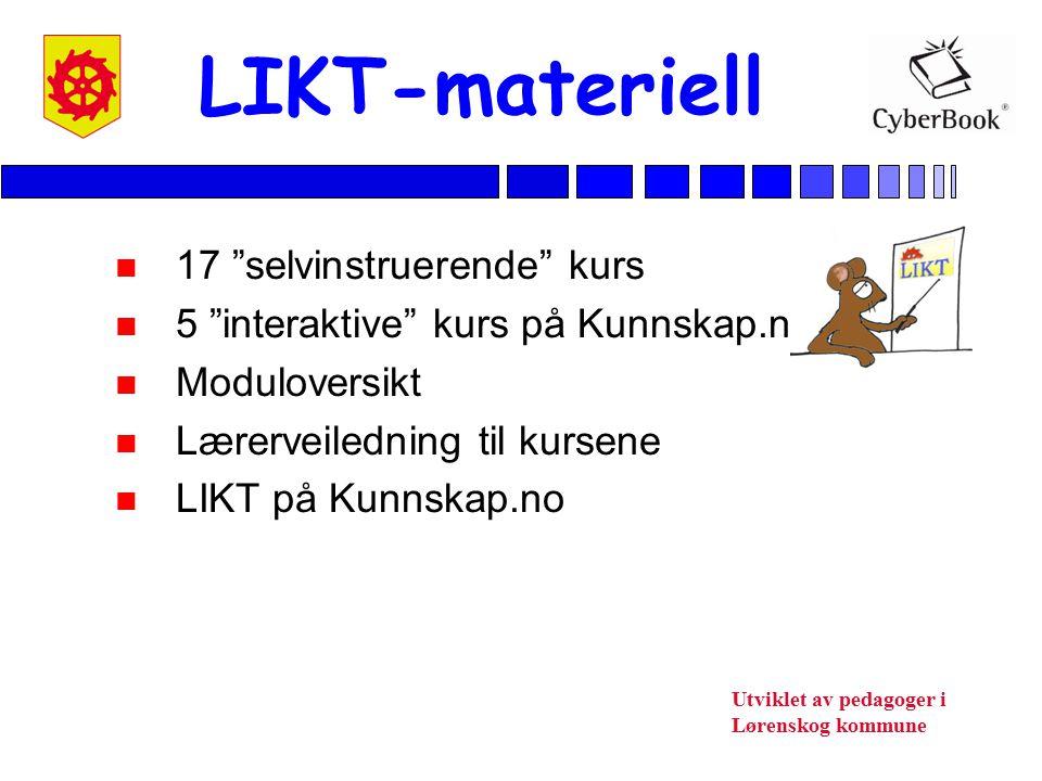 Utviklet av pedagoger i Lørenskog kommune Lærerveiledning - Brukerveiledning for IKT-ansvarlige - Hvordan komme i gang (ped.) - Generell del - Metodisk veiledning - LIKT-tester - Skjemaer for registrering - LIKT-kort - Kursbevis
