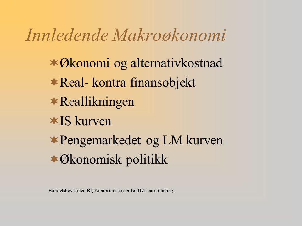 Innledende Makroøkonomi  Økonomi og alternativkostnad  Real- kontra finansobjekt  Reallikningen  IS kurven  Pengemarkedet og LM kurven  Økonomis