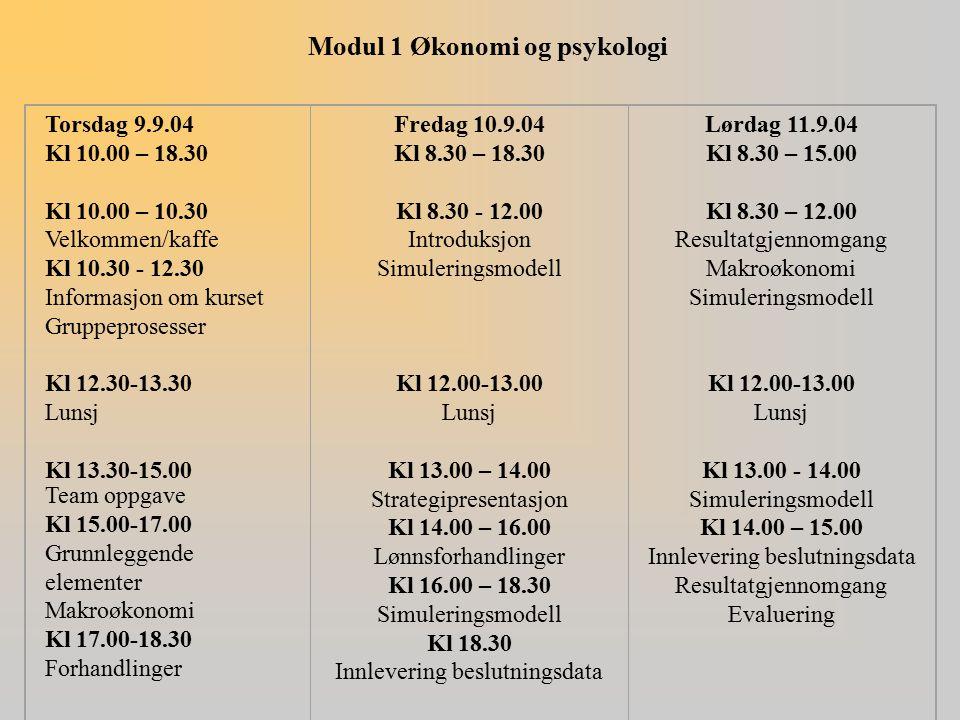 Modul 1 Økonomi og psykologi Torsdag 9.9.04 Kl 10.00 – 18.30 Kl 10.00 – 10.30 Velkommen/kaffe Kl 10.30 - 12.30 Informasjon om kurset Gruppeprosesser K