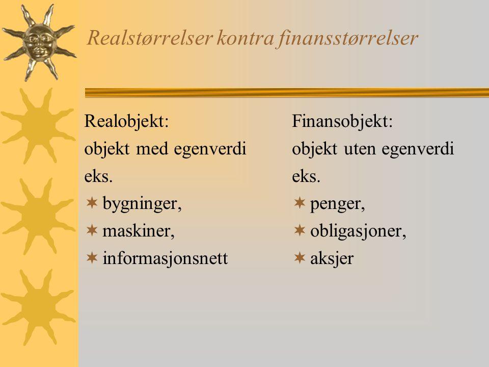 Realstørrelser kontra finansstørrelser Realobjekt: objekt med egenverdi eks.  bygninger,  maskiner,  informasjonsnett Finansobjekt: objekt uten ege