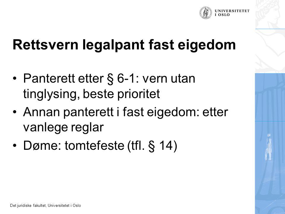 Det juridiske fakultet, Universitetet i Oslo Rettsvern legalpant fast eigedom Panterett etter § 6-1: vern utan tinglysing, beste prioritet Annan pante