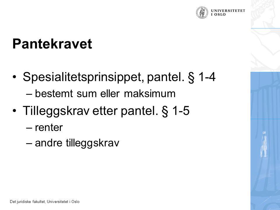Det juridiske fakultet, Universitetet i Oslo Pantekravet Spesialitetsprinsippet, pantel. § 1-4 –bestemt sum eller maksimum Tilleggskrav etter pantel.