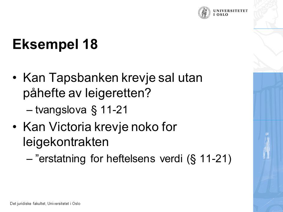 Det juridiske fakultet, Universitetet i Oslo Eksempel 18 Kan Tapsbanken krevje sal utan påhefte av leigeretten? –tvangslova § 11-21 Kan Victoria krevj